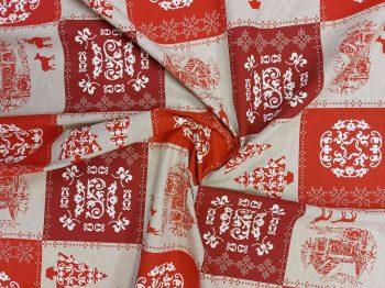 Karácsonyi terítő anyag rénszarvasos gyűrt