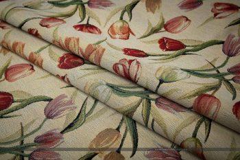 tulipános gobelin bútorszövet hajtott