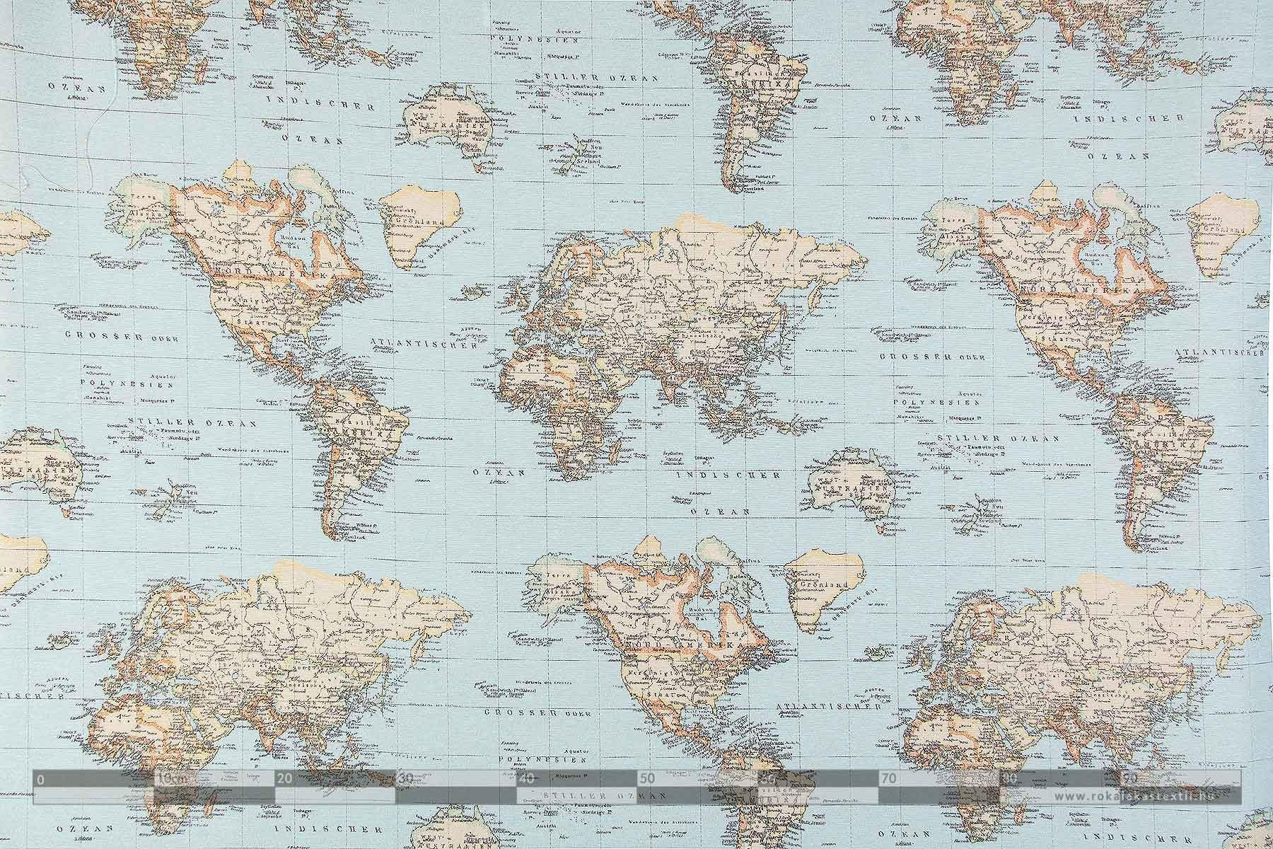 térképes dekorvászon 100