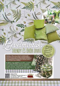 ROKA Lakástextil Veranda magazin zöld leveles