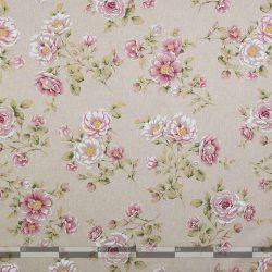 Rózsás lenhatású dekorvászon 100