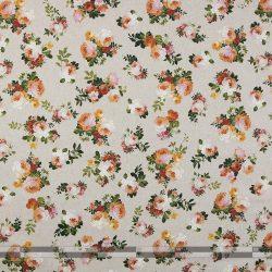 Színes rózsás lenhatású dekorvászon