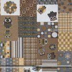 Baglyos barna dekorvászon patchwork zoom