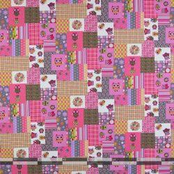 Baglyos rózsaszín dekorvászon patchwork 100
