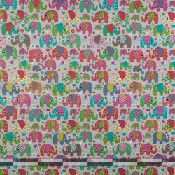 Színes elefántos dekorvászon 07299-025