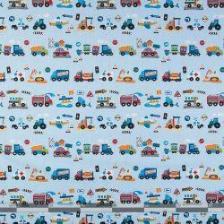 Járművek halványkék pamutvászon 100