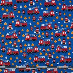 Tűzoltós dekorvászon kék alapon 3530-01 100