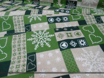 Szarvasos dekorvászon zöld hajtott variáció