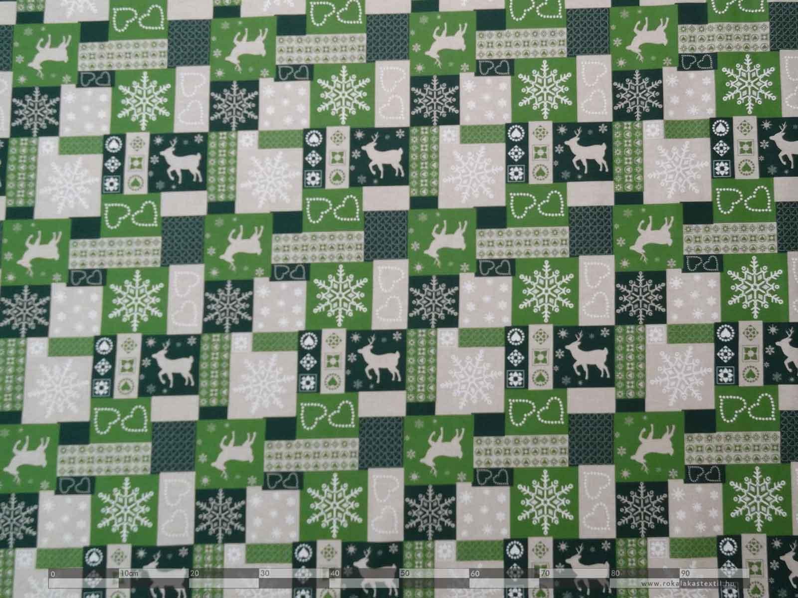 Szarvasos dekorvászon zöld 100