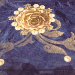 Barokk mintás bútorszövet kék - gyöngy brosssal