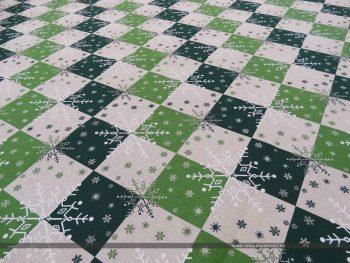 Hópelyhes dekorvászon zöld 07125-02 ferde