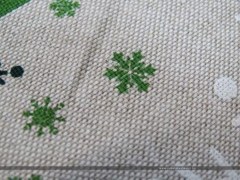 Hópelyhes dekorvászon zöld 07125-02 közeli