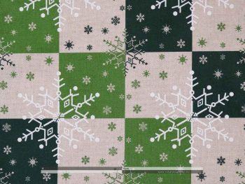 Hópelyhes dekorvászon zöld 07125-02 zoom