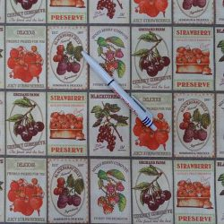 Indigo gyümölcscímkék pamutvászon