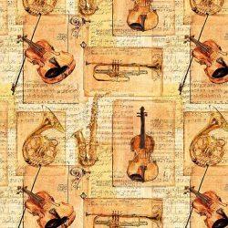 Indigo hegedűs pamutvászon