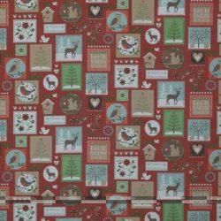 Karácsonyi bélyegek bordó dekorvászon 100
