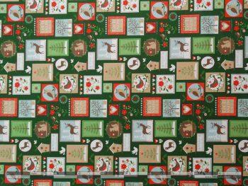Karácsonyi bélyegek zöld dekorvászon elforgatva 100