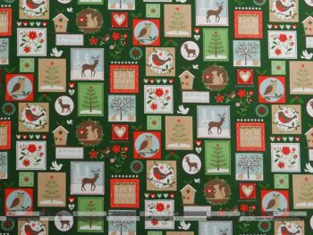 Karácsonyi bélyegek zöld dekorvászon 100