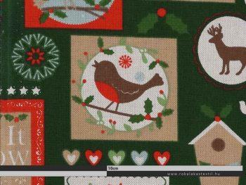 Karácsonyi bélyegek zöld dekorvászon zoom