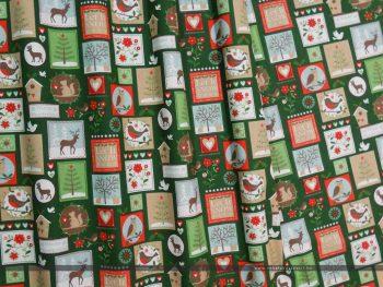 Karácsonyi bélyegek zöld dekorvászon hullam
