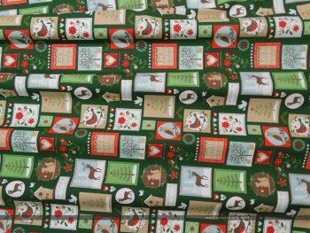 Karácsonyi bélyegek zöld dekorvászon hullám2