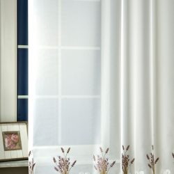 Levendula fényáteresztő függöny hímzett