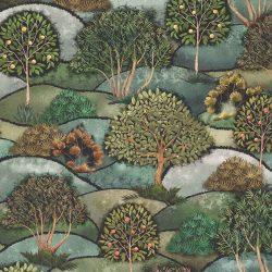 Fák-dombok digitális pamutvászon orig