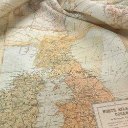 Európa-térképes pamutvászon óceán