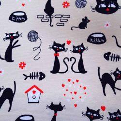 Fekete macskás dekorvászon 9