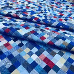 kék mozaik bútorszövet - pixel hajtott bal