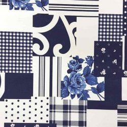 Kékfestős patchwork hatású dekoranyag